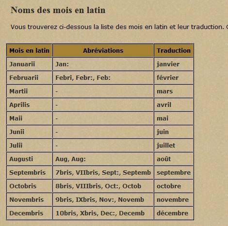 Noms des mois en latin